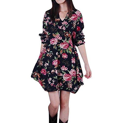 aa757393187cef BURFLY Damen Langarm-Kleid, Frauen Langarm V-Ausschnitt Floral Printed  Cotton Leinen lose