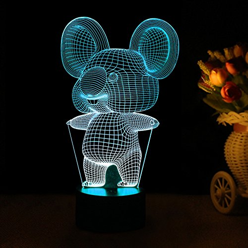 Tons 3D Lamp Illusion Animals Shape Acrylic Table Night Light for Boys cool Birthday Gift Colorful 7 Colors With USB Touch - Shape Koala