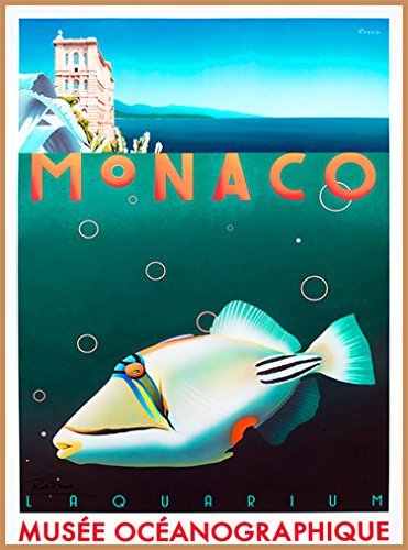 (A SLICE IN TIME Monaco Aquarium Zoo Musee Oceanographique Monte Carlo France French European Europe Vintage Travel Wall decor Advertisement Art Poster Print. 10 x 13.5 inches.)