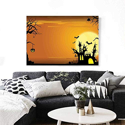 (Halloween Canvas Wall Art Gothic Haunted House Bats Western Spooky Night Scene with Pumpkin Drawing Art Print Paintings for Home Wall Office Decor 48