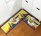 EUCH 2 Piece Kitchen Mat Non-slip Rubber Backing Carpet Doormat Runner Bathroom Rug Set,15''x47''+15''x23'' (Ramen chef)