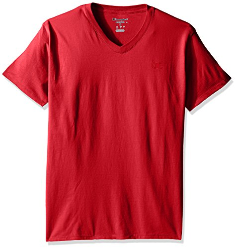 Champion Men's Classic Jersey V-Neck T-Shirt, Scarlet, XL