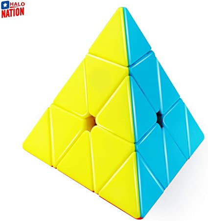 HALO NATION High Speed Pyraminx Stickerless Triangle Rubik Cube - Speed up Pyramid Puzzle