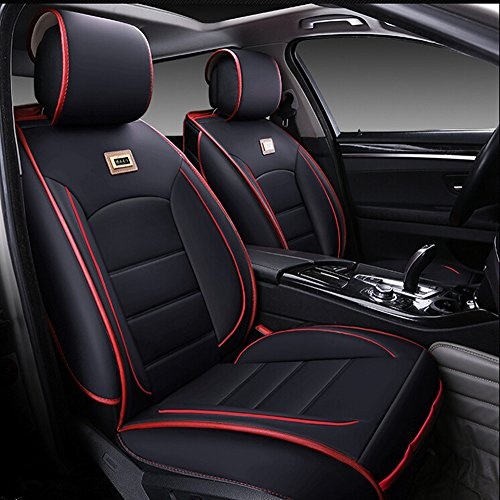 - Luxurious Airbag Compatible Universal Full Set Needlework PU leather Dacron Fabric Front Rear Car Seat Cushion Seat Covers for Honda Civic Accord 6PCS Black
