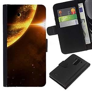 LG G3 D855 D850 D851 , la tarjeta de Crédito Slots PU Funda de cuero Monedero caso cubierta de piel ( Planets Sun Red Dwarf Space Universe Stars)