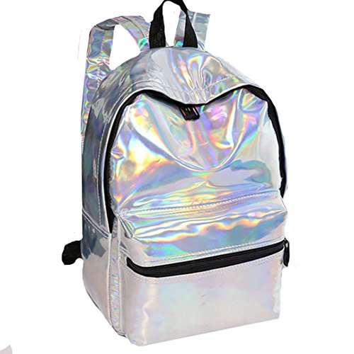 LA HAUTE PU Leather School Backpacks Holographic Casual Daypacks Travel Bling Glitter Backpack,Silver Silver 1