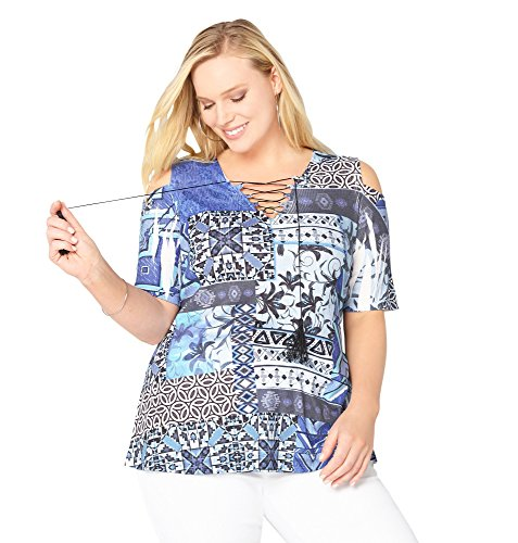 AVENUE Women's Tie Up Patchwork Cold Shoulder Top, 26/28 Blue Print