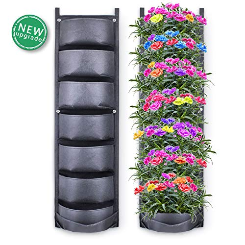 Hanging Strawberry Planter - Richoose Vertical Hanging Garden Planter with 7 Pockets, New Upgrade Waterproof Wall Mount Planter Pouch Solution (2019)