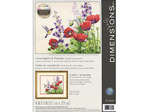 Dimensions Hummingbird Flower Counted Cross Stitch Kit for Beginners, 14 Count Ivory Aida Cloth, 14'' x 11''