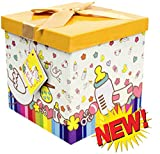 Baby Gift Box 12x12x12 Petit Bebe Collection - Easy to Assemble & Reusable - No Glue Required - Ribbon, Tissue Paper, and Gift Tag Included - EZ Gift Box by Endless Art US