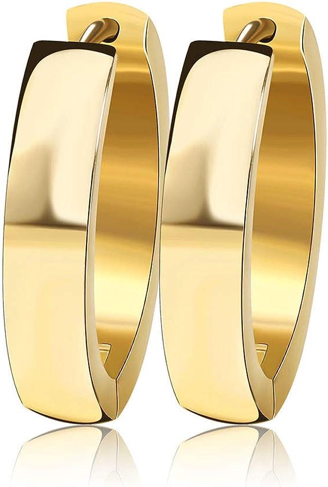 INRENG Stainless Steel Small Wide Huggie Hoop Earrings for Women Men Silver, Gold, Rose-gold