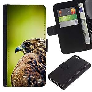 Planetar® Modelo colorido cuero carpeta tirón caso cubierta piel Holster Funda protección Apple (5.5 inches!!!) iPhone 6+ Plus / 6S+ Plus ( Hawk Green Nature Feathers Bird Prey )