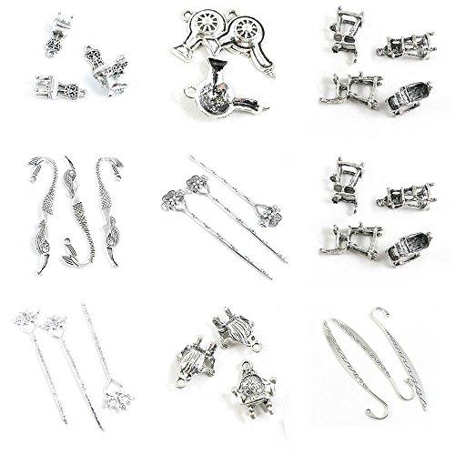 30 Pieces Antique Silver Tone Jewelry Making Charms Broadsword Bookmark Hair Sticks Sofa Chair Mandarin Umpire Heart Flower Hairpin Pin Mermaid Dryer ()