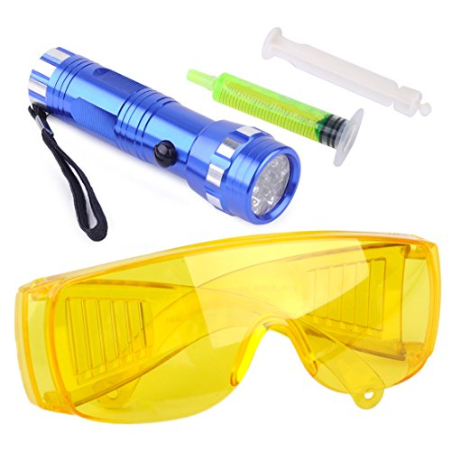 beler Car 14 LED Flash Light Safety Glasses With Fluorescent Oil Air Conditioning A/C Gas UV Leak Detection Kit by beler (Image #1)