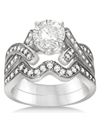 Intertwined Diamond Engagement Ring Bridal Set Palladium 0.59ct (No center stone included)w