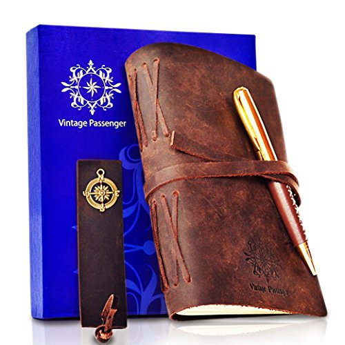 """LEATHER JOURNAL - GIFT SET Handmade Notebook With Leather Bookmark, Elegant Pen and Box - VINTAGE Travel Diary For Writing, Taking Notes, Sketching, Drawing, Planning, Men, Women, 5 x 7"""""""