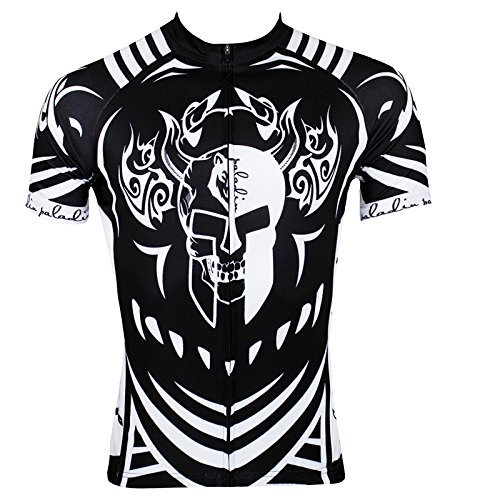 Mountain Hills Halloween Black Ghost Skull Men's Short Sleeve Bicycle Cycling Jersey Top-Small