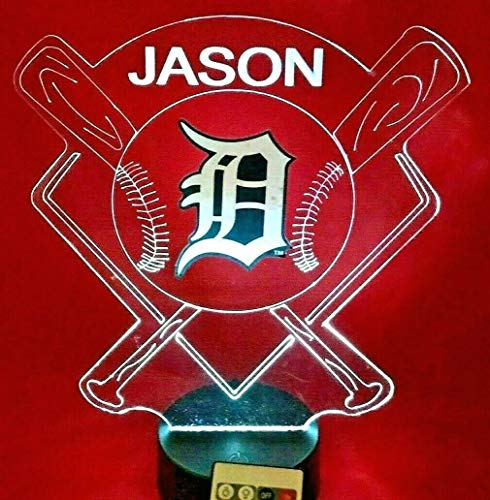 Detroit Tigers Table Lamp - Tigers MLB Light Up Lamp LED Baseball Detroit Personalized Night Light Illusion Lamp Table Lamp, Our Newest Feature - It's Wow, with Remote 16 Color Options, Dimmer, Free Engraving, Great Gift