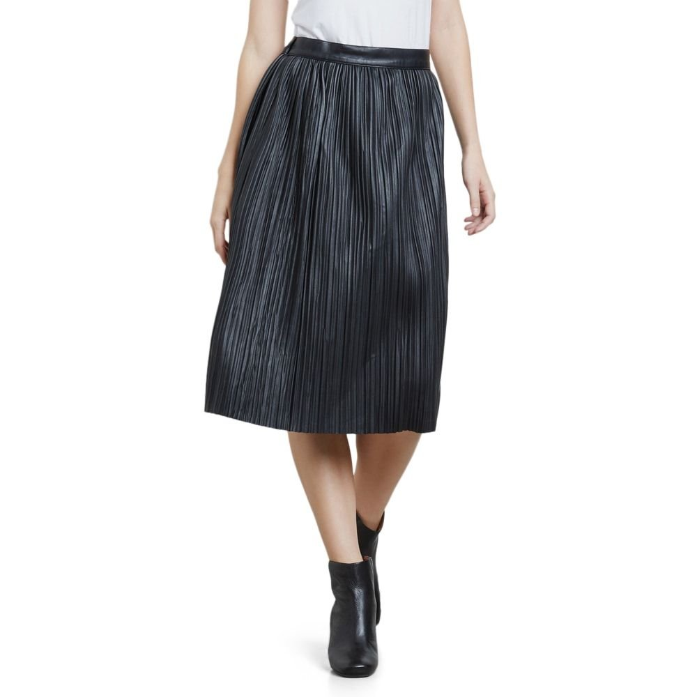 Kenneth Cole Women's Faux Leather Pleated Midi Skirt, Black, XL