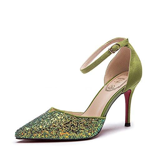 Sandales d'été pour les dames/Sexy paillettes chaussures à talon haut talon fashion-A Longueur du pied=22.8CM(9Inch)