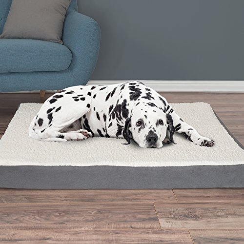 PETMAKER Orthopedic Sherpa Top Pet Bed with Memory Foam and Removeable Cover 44x35x4.75 Gray by PETMAKER (Image #1)