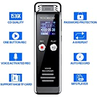 Voice Recorder, TOOBOM R75 Digital Voice Activated Recorder, Active Noise Cancellation Microphone Sound Dictaphone Support 64GB microSD Card, Metal Body Mini Lecture Recorder (8GB-Black)
