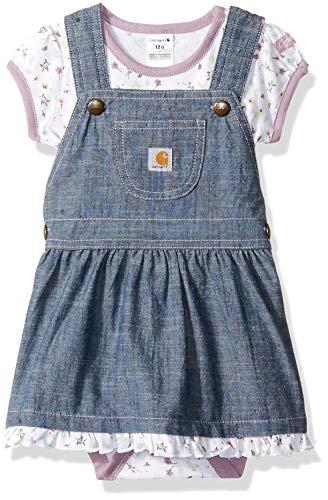 Carhartt Baby Girls 2-Piece Set, Chambray Jumper/Floral Print Bodysuit, 18M - Floral Print Jumper Set