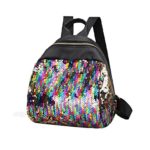 VESNIBA LLC Women Girl Backpack Travel Rucksack Shoulder Shiny Sequins School Bags
