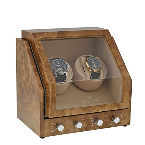 Brand New Watch Winder for 2 Watch Light Burl Wood Finish Beige Velvet interior Premier Range by Aevitas by Aevitas