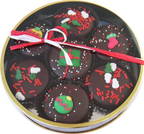 Chocolate Dipped Oreo Cookies decorated for Christmas 7 Oreo Assortment, Dark Chocolate (Naples Cookies)