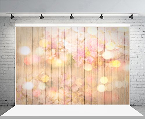 Laeacco Vinyl 7x5ft Photography Background Painted Pink Flowers Cherry Blossoms Stripes Wood Wall Floor Glitter and Twinkle Theme Backdrops Portraits Shooting Video Studio Props 2.2x1.5m - Wall Cherry Wood