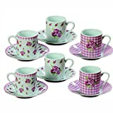 The Sweetheart Rose Espresso Cups and Saucers, Set of 6, 6 Coordinated Cups, 6 Matching Saucers, Gingham, Rose and Dot Patterns, Rustic White With Pink and Green, Each cup is 4 ¼ D x 2 ½ H by WHW