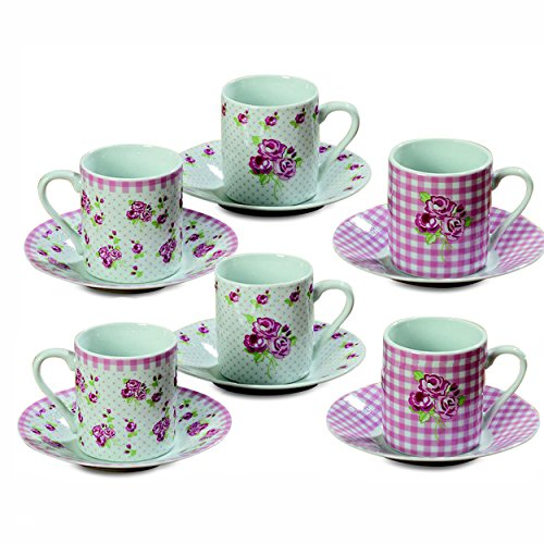The Sweetheart Rose Espresso Cups and Saucers, Set of 6, 6 Coordinated Cups, 6 Matching Saucers, Gingham, Rose and Dot Patterns, Rustic White With Pink and Green, Each cup is 4 ¼ D x 2 ½ H by WHW - Sweetheart Rose Cup
