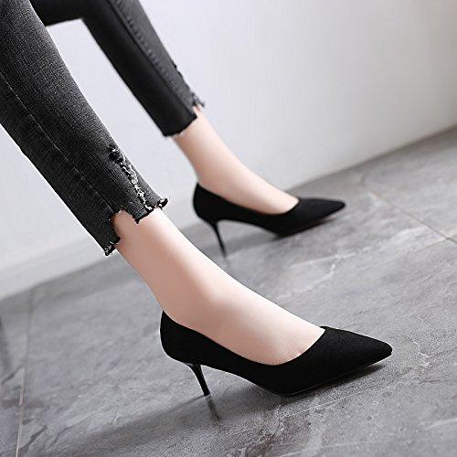 Jqdyl High Heels 2018 Fruuml;hling neue High Heels weibliche Spitze mit professionellen Schuhe wilde Schuhe mit Absauml;tzen  37|Black 6cm