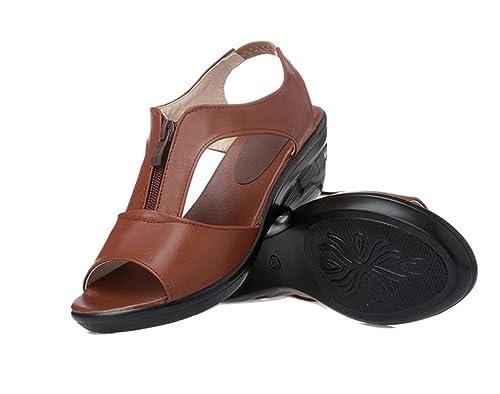 eb4e1c03f1c Sandalias para Mujer de tacón bajo Antideslizantes Zapatos de Verano Sandalias  de cuña de Confort al