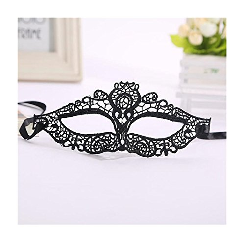 Iuhan® Fashion Halloween Masquerade Sexy Lady Black White Lace Mask hollow out Catwoman (B)