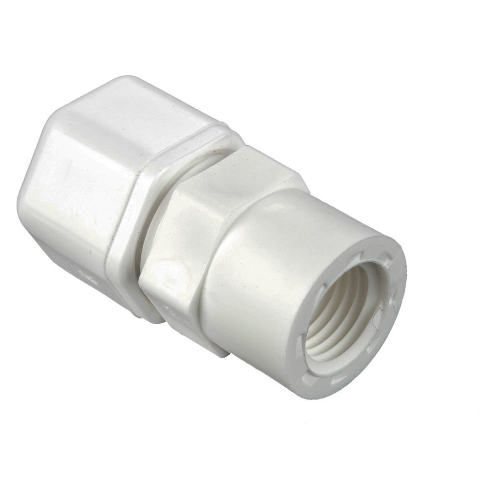 Fast-Tite Pack of 20 Pack of 20 White Polypropylene 5//8 and 1//2 Compression and NPTF Connector Tube to Female Pipe 5//8 and 1//2 Parker W10FC8-pk20 Compression Style Plastic Fitting