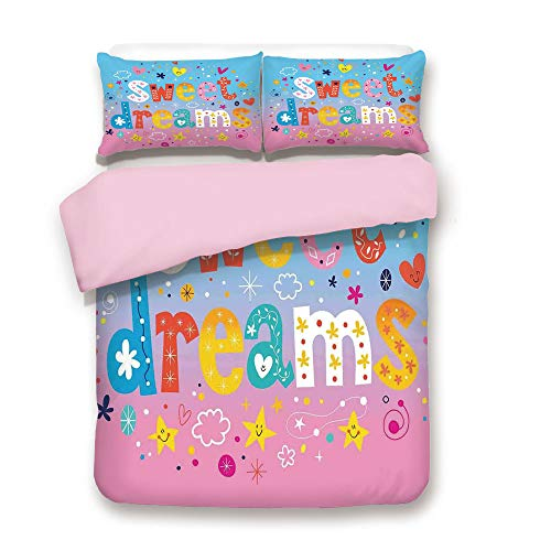 Pink Duvet Cover Set/Twin Size/Sweet Dreams Colorful Ombre Stars Flowers Clouds Hearts Funny Letters Baby Toddlers Printed Art/Decorative 3 Piece Bedding Set with 2 Pillow Sham/Best Gift For Girls Wom ()
