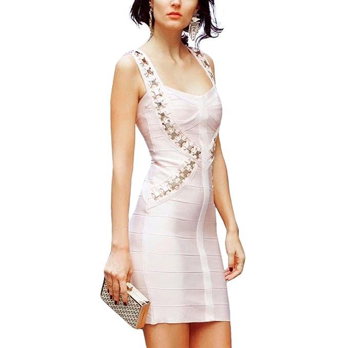 HLBandage Women Spaghetti Strap Metal Rayon Mini Bandage Dress(XS,Rosa)