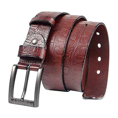 Croco Embossed Belt (GSG Mens Embossed Square Buckle Leather Belt Stylish Croco Pin Buckle Belt Strap for Men Brown)