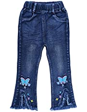 Peacolate 6-10T Little&Big Kids Girls 3D Butterfly Jeans Denim Pants