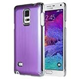 Note 4 Case, Galaxy Note 4 Case, ULAK Samsung Galaxy Note 4 Case Brushed Chrome Luxury Steel Aluminum Plastic Cover Hard Back Protective Case for Galaxy Note 4 (2014)-Purple