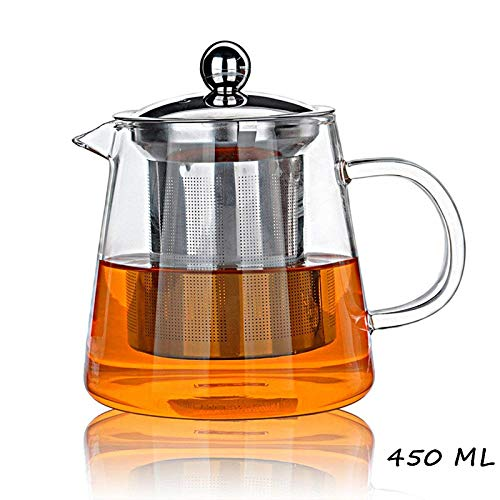 (Glass Teapot Infuser PLUIESOLEIL with Heat Resistant Stainless Steel Infuser Perfect for Tea and Coffee (450ML))