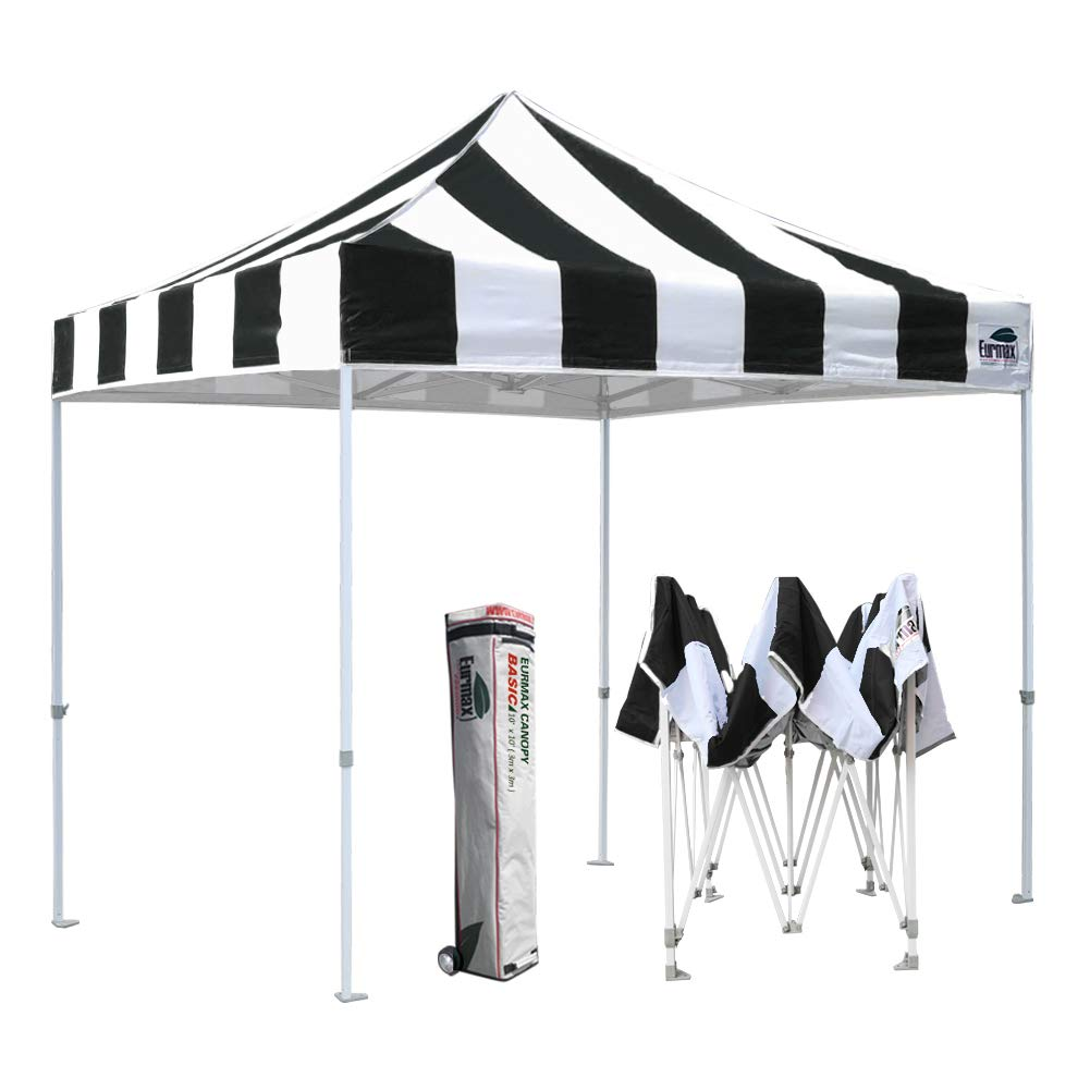Eurmax 10'x10' Ez Pop Up Canopy Tent Commercial Instant Canopies with Heavy Duty Roller Bag(Striped Black)