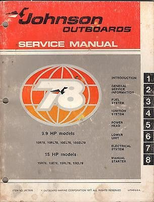 1978 JOHNSON OUTBOARD 9.9 & 15 HP JM-7805 SERVICE MANUAL (758) ()