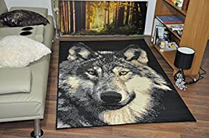 Large Wolf Face Wildlife Safari Animal Print Rug Carpet Wild Animal Style  Rugs Runner Modern Soft Carpet Mats (60x110cm)