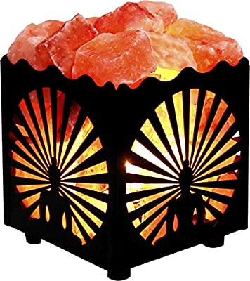 Crystal Decor Natural Himalayan Salt Lamp in Metal Basket with Dimmable Cord - Choose Your Design