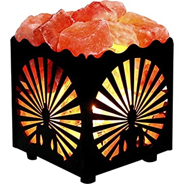 Crystal Decor® Natural Himalayan Salt Lamp in Buddha Design Metal Basket with Dimmable Cord