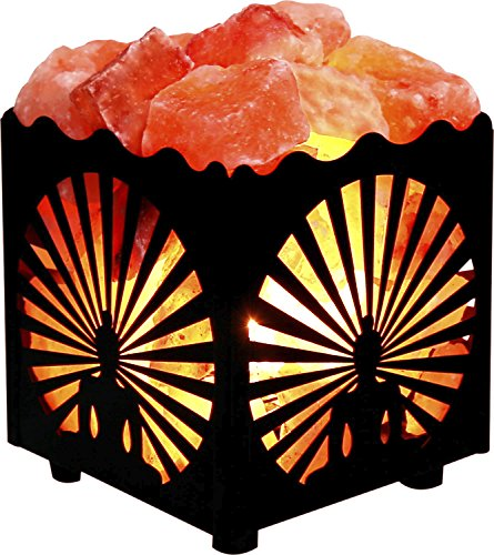 CRYSTAL DÉCOR Natural Himalayan Salt Lamp in Metal Basket with Dimmable Cord – Choose Your Design