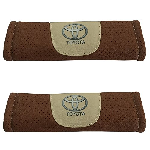 (2pcs Set Toyota Brown Color Car Seat Safety Belt Covers Leather Shoulder Pad Accessories Fit for Toyota Highlander Toyota Land Cruiser Toyota Mirai Toyota Prius Toyota RAV4 Toyota Sequoia)